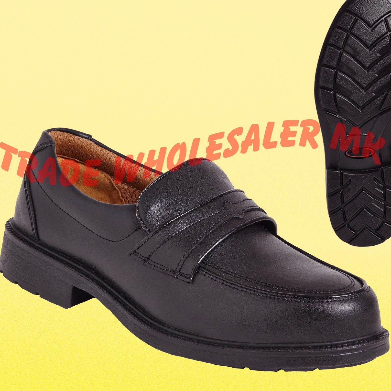 cbbd1352ea6 City Knights Leather Steel Toe Cap Slip on Safety Shoes Smart Office SS503CM