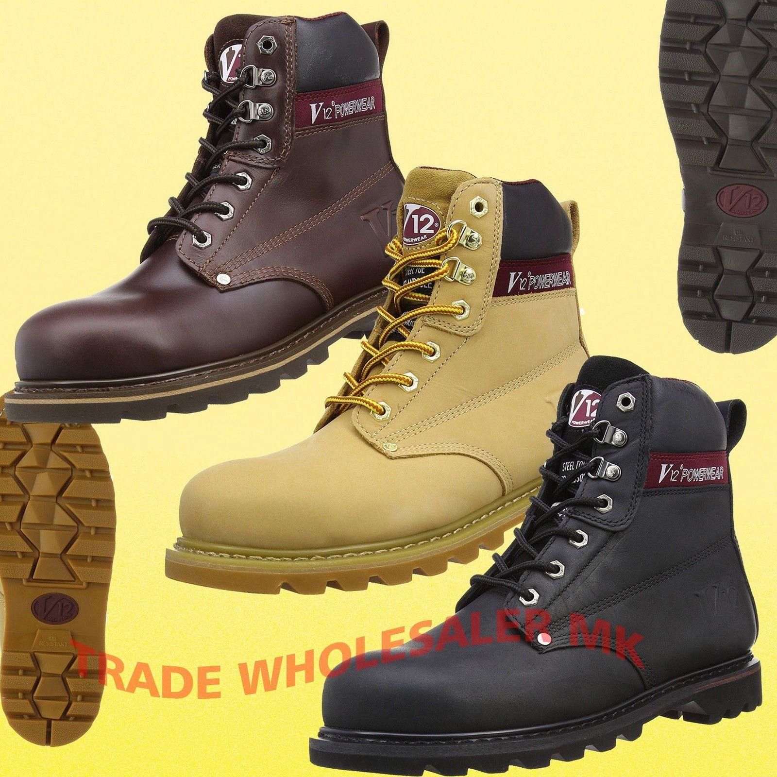 V12 Safety Boots Work Steel Toe Cap /& Steel Mid Sole PPE Black//Brown Boulder