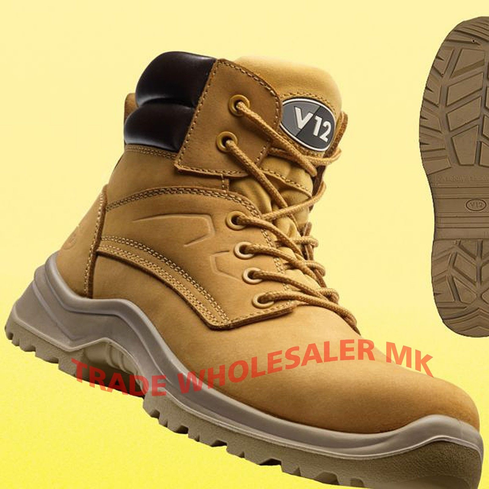 926819ec94f V12 BOBCAT LEATHER WORK COMPOSITE TOE CAP SAFETY BOOTS STEEL MIDSOLE
