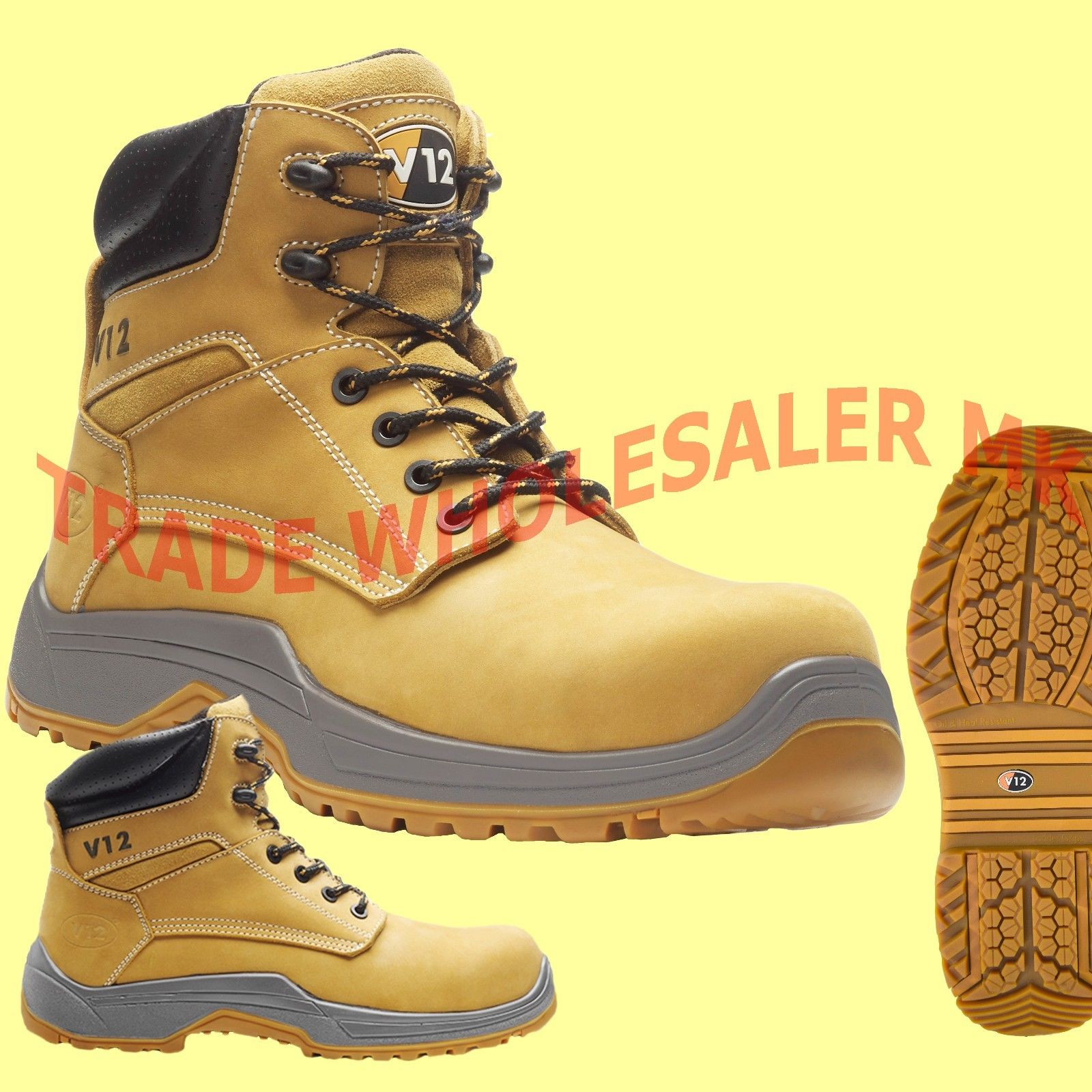 6ac0232fc66 V12 PUMA LEATHER WORK COMPOSITE TOE CAP SAFETY BOOTS STEEL MIDSOLE