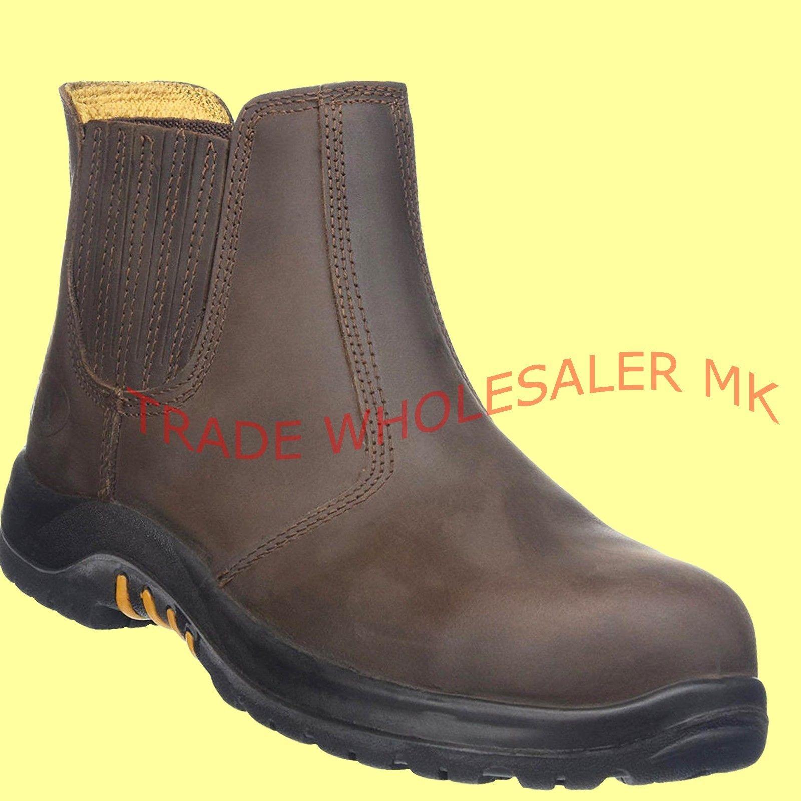 good texture half price amazing price V12 STALLION DEALER CHELSEA STEEL TOE CAP SAFETY WORK BOOTS Brown VR610