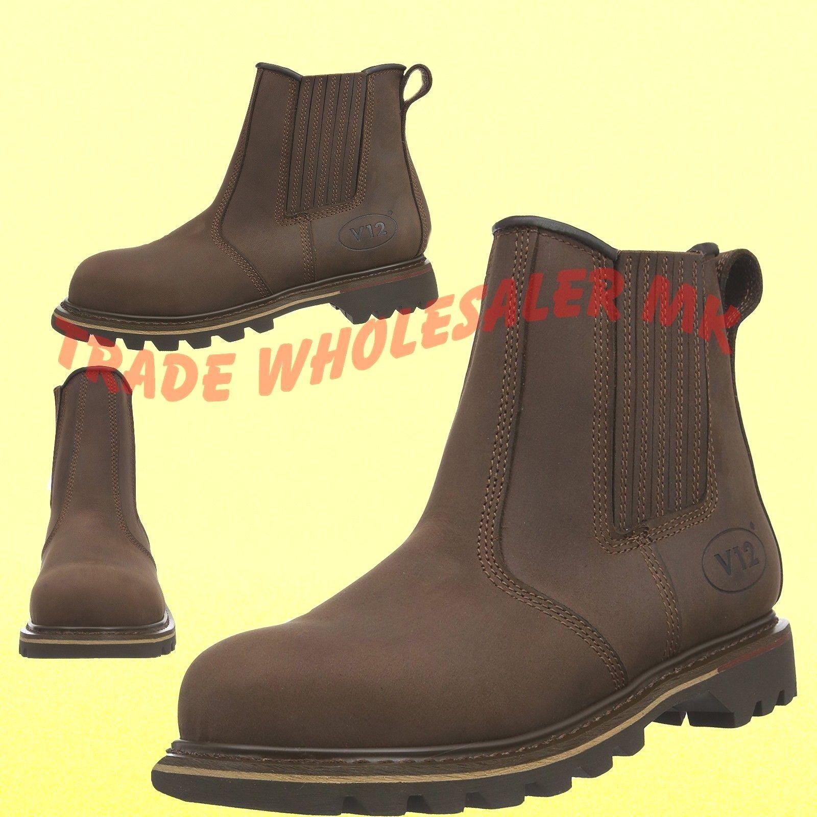 wholesale outlet official hot sale V12 RAWHIDE DEALER CHELSEA STEEL TOE CAP SAFETY WORK BOOTS Brown V1231